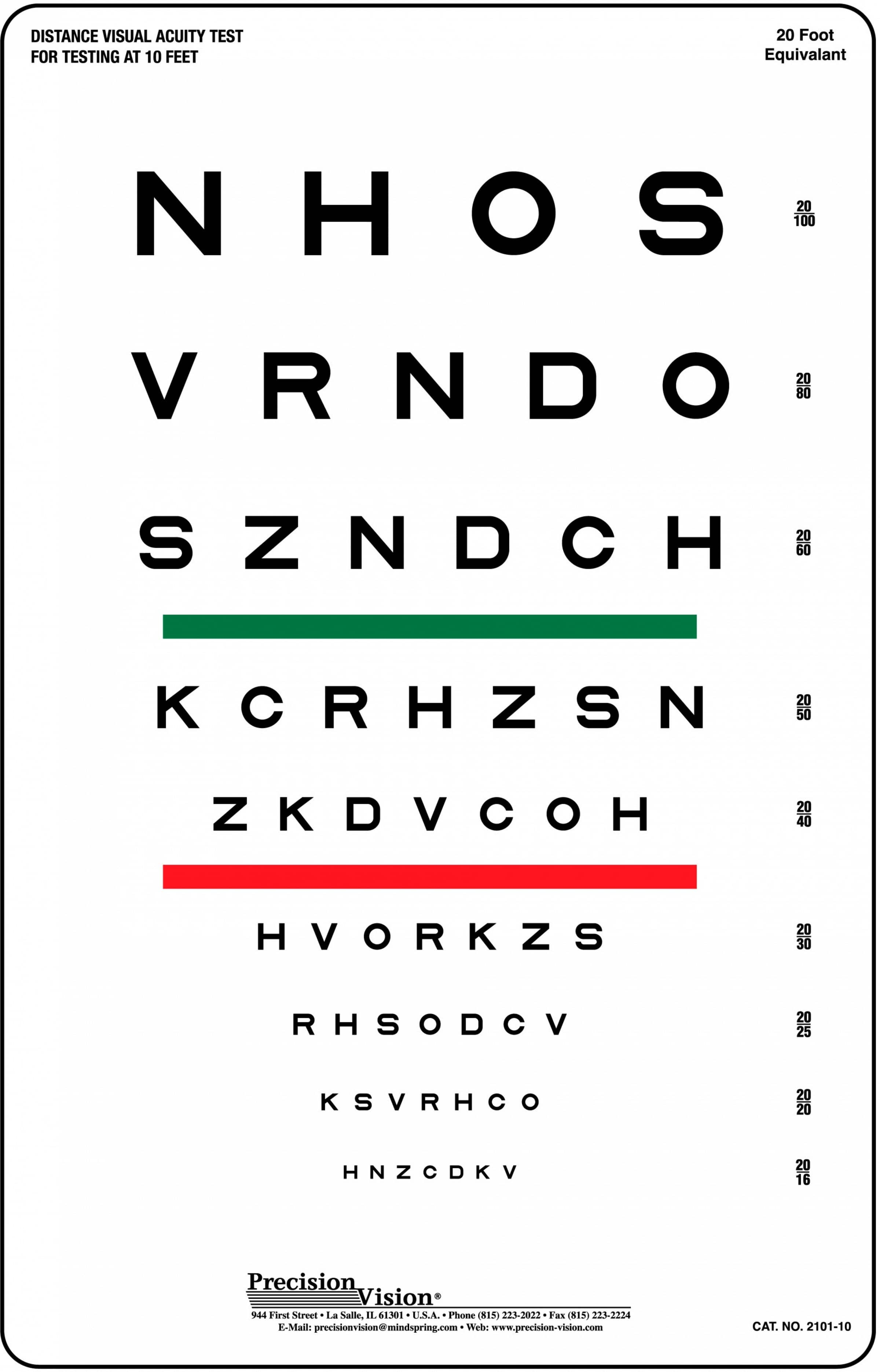 10 foot vision testing charts for school nurses precision vision sloan striped visual acuity chart geenschuldenfo Gallery