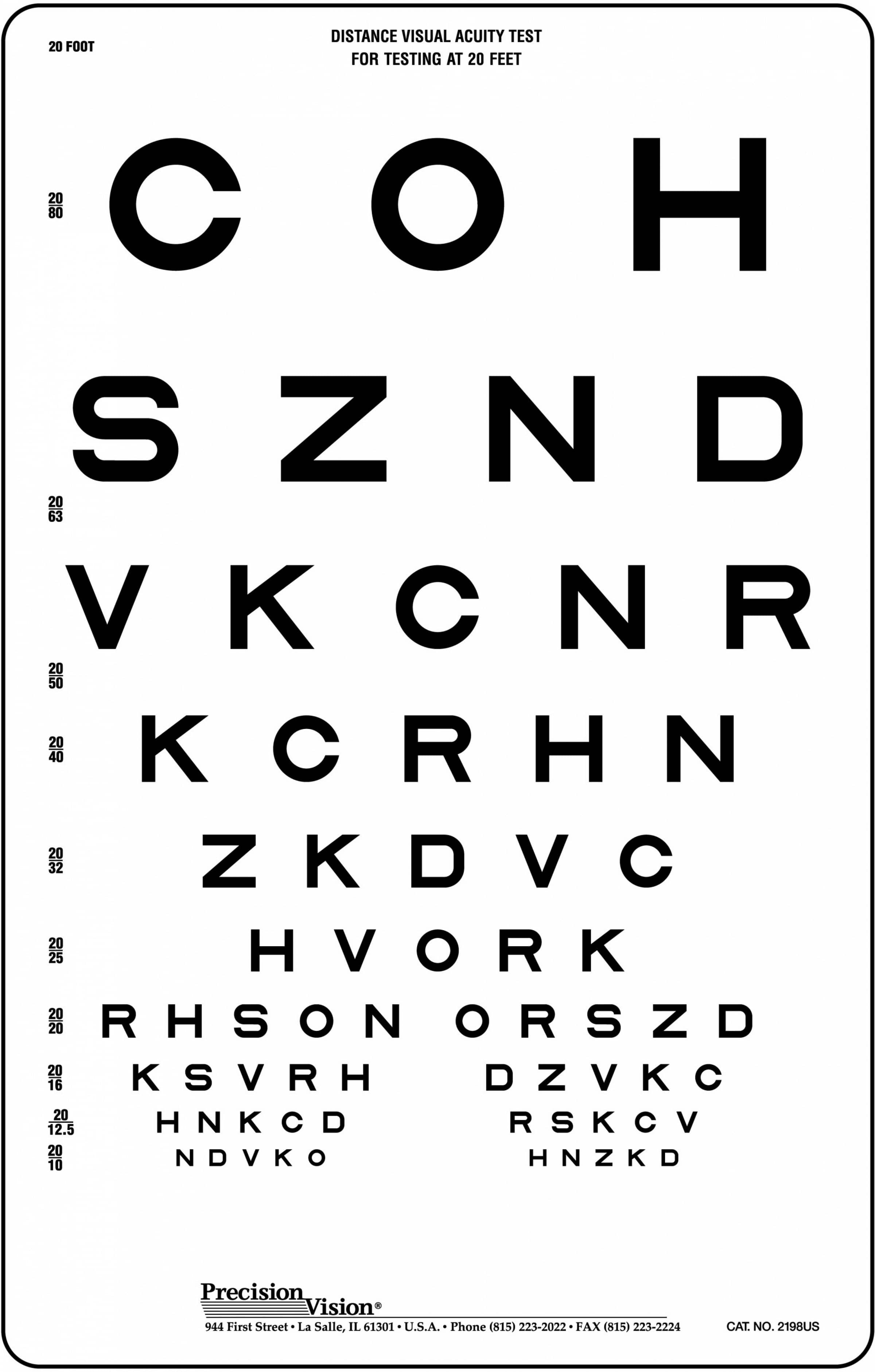 Sloan Translucent Distance Vision Testing Chart