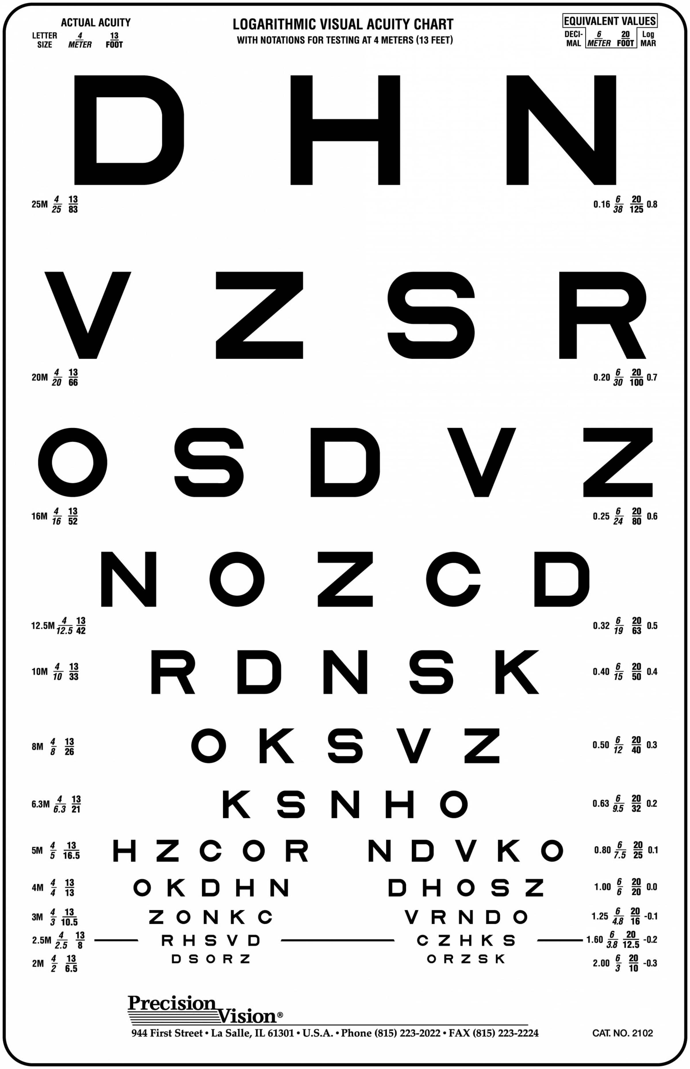4 Meter 13 Ft High Contrast Eye Charts Precision Vision