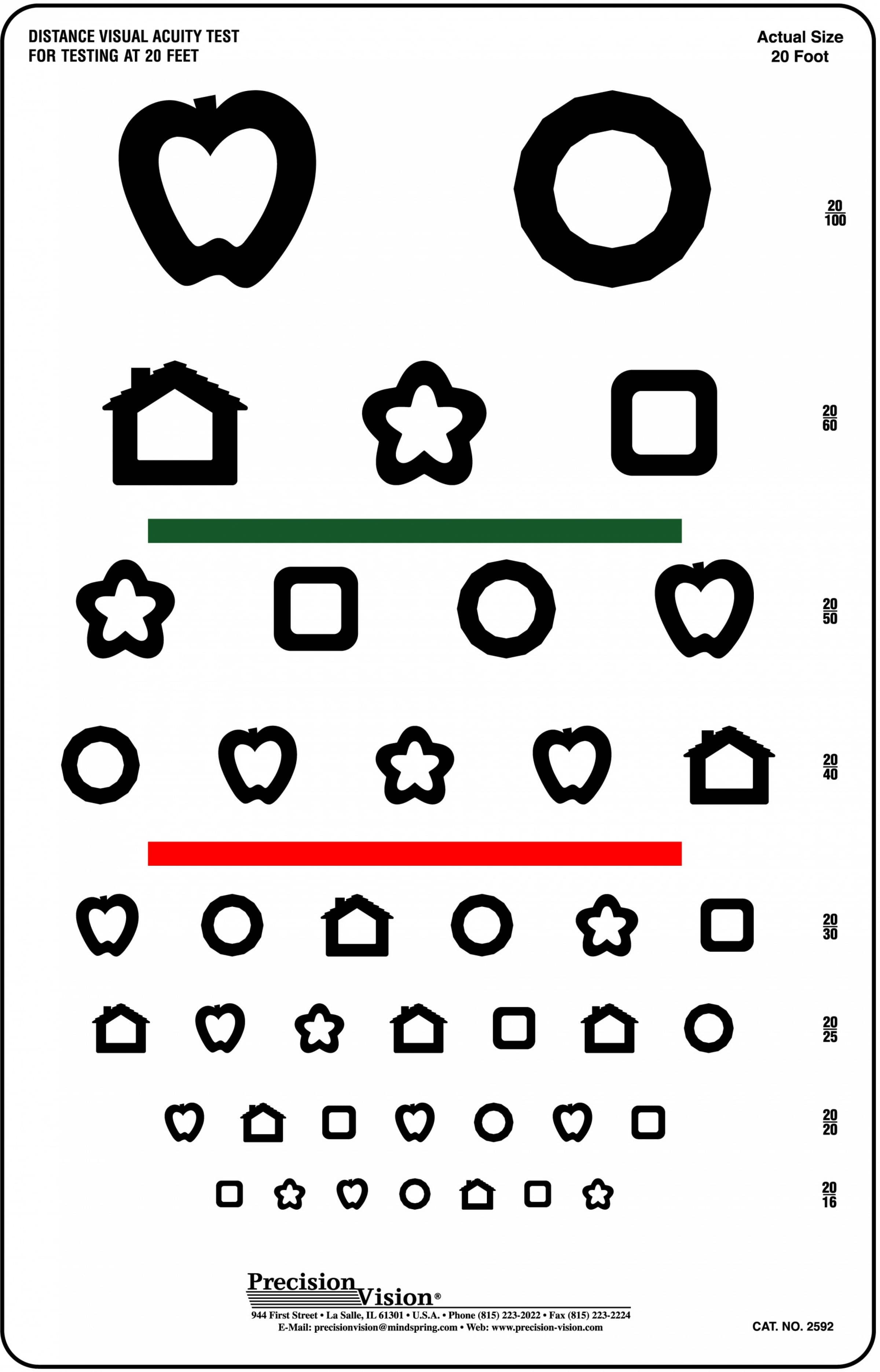 8 Line Patti Pics Color Test Visual Acuity Chart
