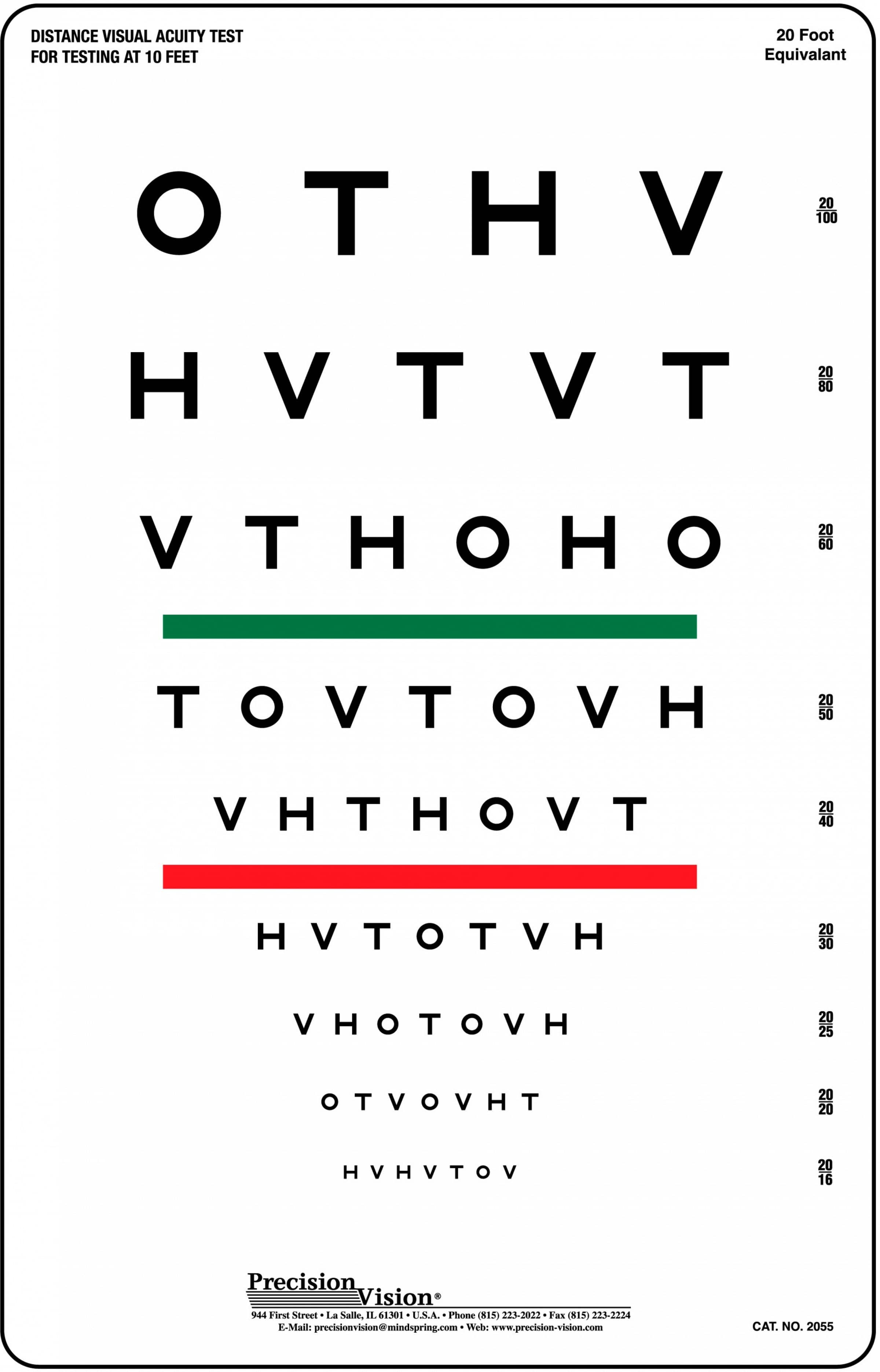 3 meter 10 ft high contrast eye charts precision vision hotv redgreen bar vision test chart nvjuhfo Image collections