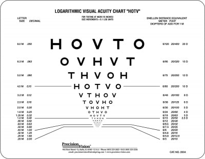 Near Vision Letter And Symbol Eye Charts Precision Vision