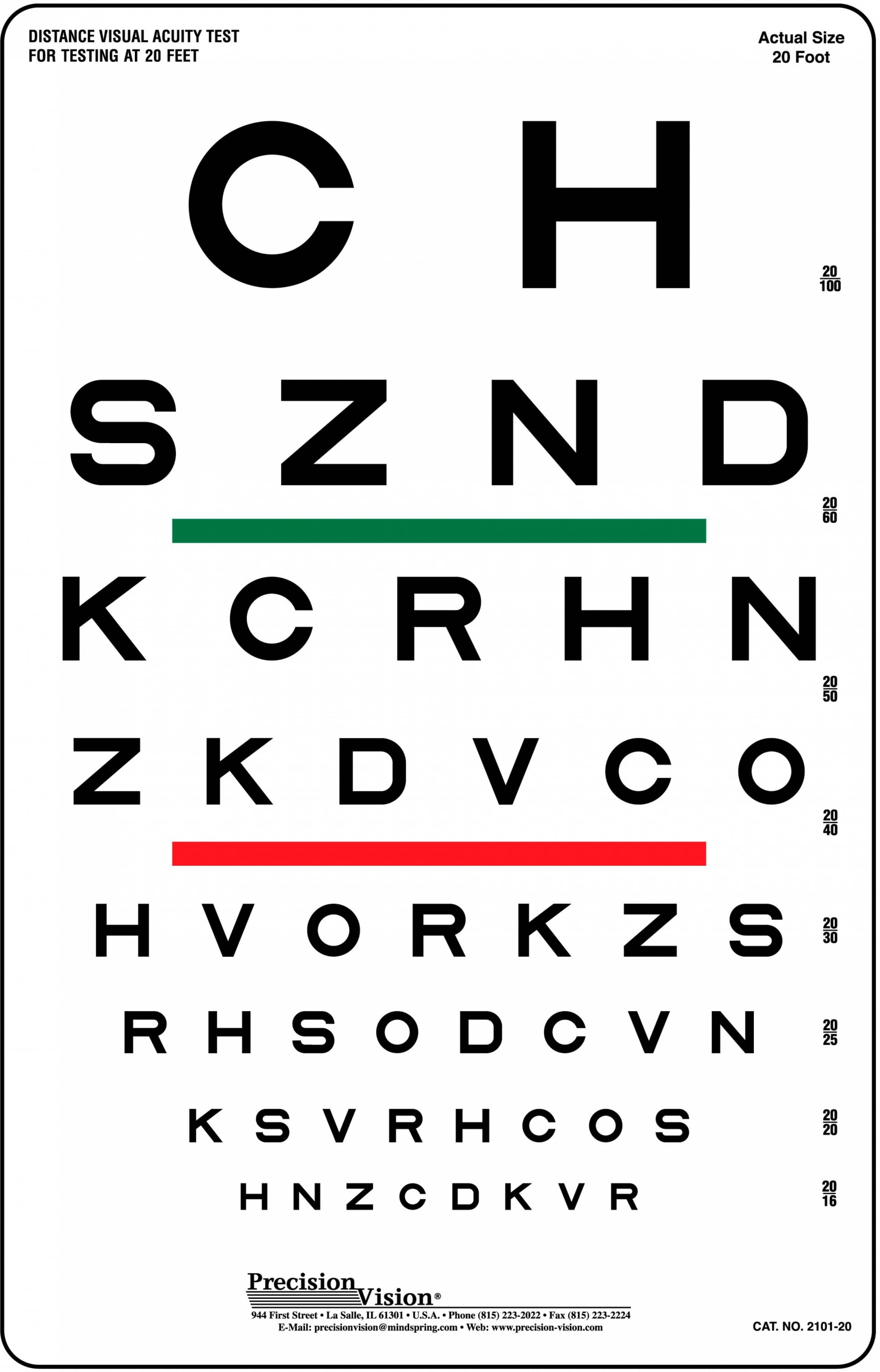 6 Meter 20 Ft High Contrast Eye Charts Precision Vision