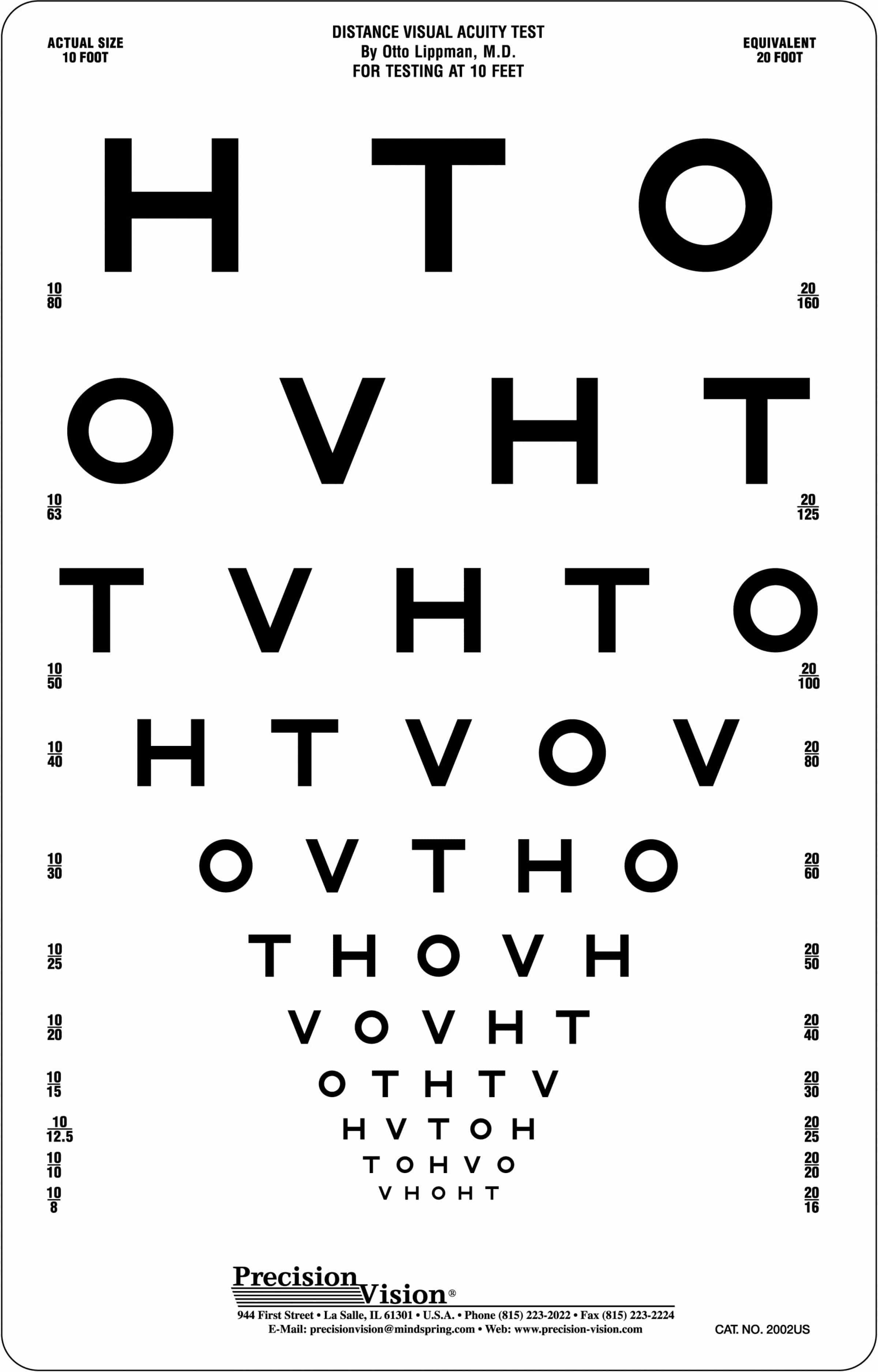 Hotv visual acuity chart 10ft precision vision