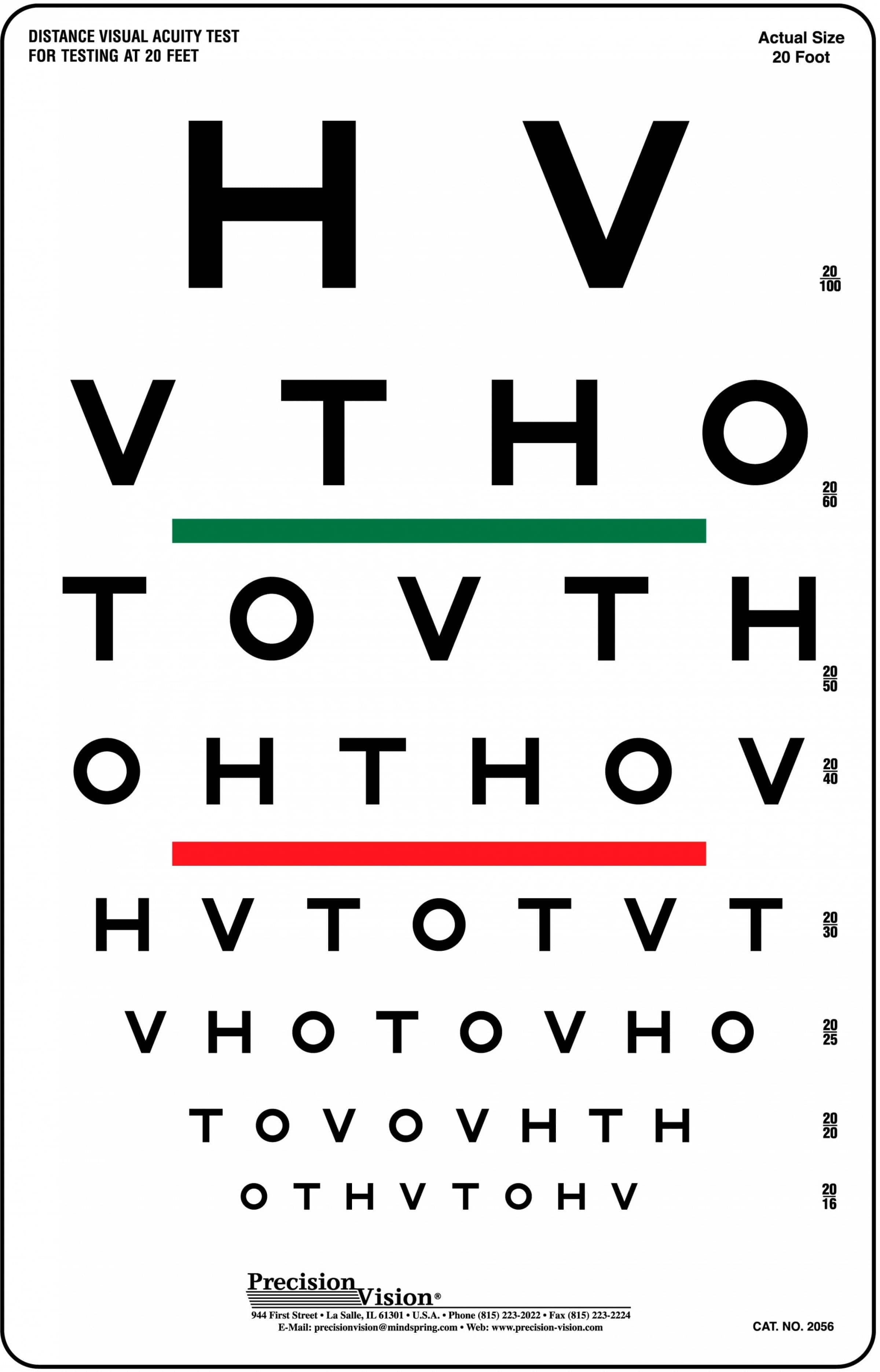 HOTV Visual Acuity / Color Vision Chart