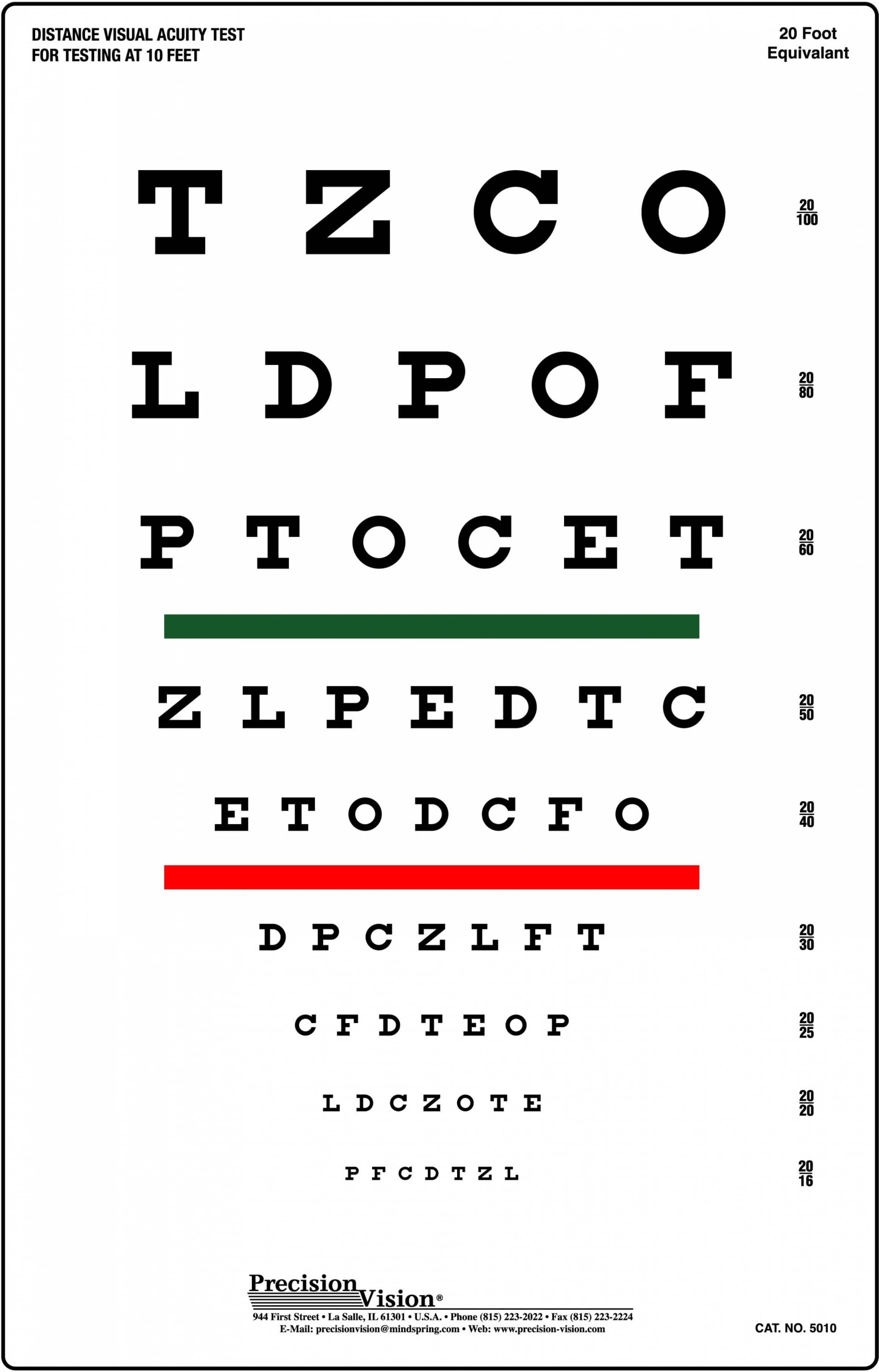 Snellen chart red and green bar visual acuity test precision vision